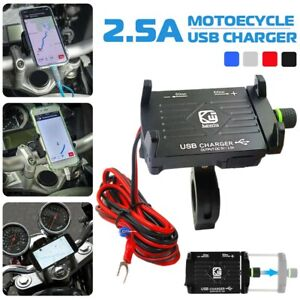 Motorcycle Cell Phone Handlebar Mount Holder USB Charger with Switch Universal