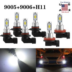 9005 9006 H11 Combo LED Headlight Fog Kits Bulbs 6000K White High Low Beam 6pcs