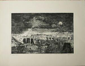 RENZO VESPIGNANI acquaforte la Luna su Parigi 65x50 firmata numerata 1978