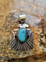 Chimney Butte Navajo Turquoise And Sterling Silver Thunderbird Pendant Signed