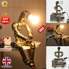 More details for retro industrial water pipe table  lamp steampunk robot desk light office home