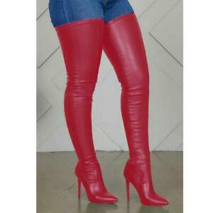 Sexy Women's Thigh High Boots Pointy Toe High Heels Stretchy Boots Red Size US 8