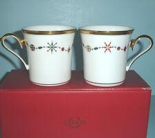 "Lenox ETERNAL WHITE 2 Christmas Accent Mug(s) Gold Trim Holiday ""Gem"" Motif New"