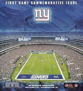 NEW YORK GIANTS PANTHERS FIRST GAME NEW MEADOWLANDS PROGRAM 9-12