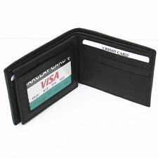 Black Genuine Leather Credit ID Mens Money Bi-FOLD Men Pocket Wallet Flip Top