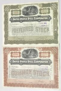 Lot of Eight (8) 1914-1970 UNITED STATES STEEL CORPORATION Stock Certificates