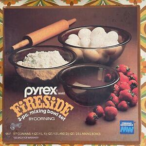 PYREX Retro BOXED Fireside Mixing Bowl Set Brown 70's Kitchen