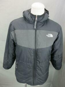 The North Face Size M(10-12) Boys Black Reversible Insulated Hooded Jacket T258