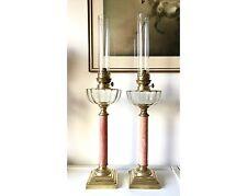 Rarität ! Paar Antike Petroleumlampen Rosa Marmor Frankreich 1900 Öllampe 70 cm!