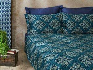 Dreamon Hotel Premium Quality Cotton Sateen Duvet Cover Double Damask Blue