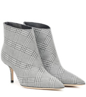 Jimmy Choo Marinda 65 Glitter Checked Silver Leather Ankle Boots;EU40.5/US9.5-10