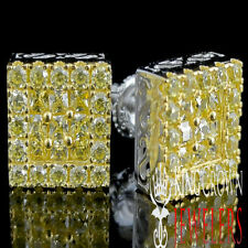 MEN'S LADIES NEW WHITE GOLD OVER STERLING SILVER CANARY STUD EARRINGS BLOCK 11MM