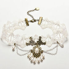Mujer Blanca Flor Encaje Cadena Y Dije Gargantilla Collar de perlas de imitación