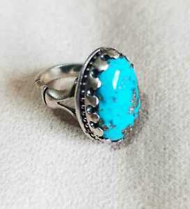 925 Sterling Silver Rings Men's Crowned Stone Turquoise Nishapuri Blue Engraved