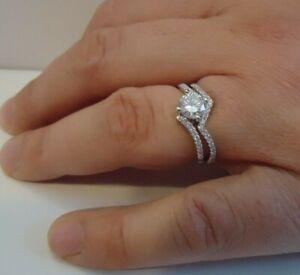ZIG ZAG ENGAGEMENT RING SET W/ LAB DIAMONDS/ 925 STERLING SILVER / SZ 5,6,7,8,9