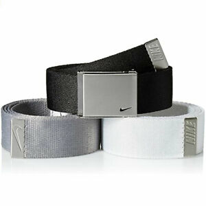 NIKE MEN'S WEB BELT 3 IN 1 PACK BLACK/GREY/WHITE CUT TO FITS SIZE UP TO 42 20793