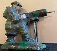 Very Rare Elastolin Vintage 1930's British Army Machine Gunner Soldier