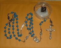 CREED BLUE WOOD MARIAN 7mm Rosary New 25 inch w/case JESUS MARY DEVOTION