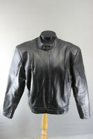 ACE LEATHERS BLACK BIKER JACKET WITH BACK, SHOULDER & ELBOW PROTECTORS 46 IN XL