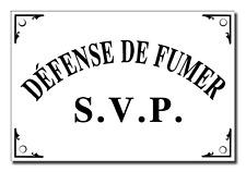 "Large ""Defense de Fumer S.V.P."" French Enamel Plaque Metal Sign No Smoking 6""x4"""