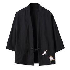 Japonés hombre bordado yukata Abrigo Kimono Holgado Chaqueta Algodón Retro
