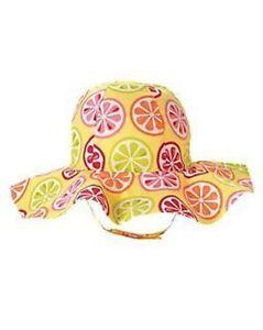 GYMBOREE CITRUS COOLER YELLOW w/ CITRUS SLICE PRINTED SUN HAT 0 12 24 2 4 5 NWT
