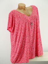 Shirt mit Kette Top Tunika Bluse Lagenlook Größe 46- 54 one size lachs geblümt w
