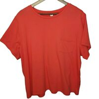 BP Women's Crew Neck Pocket Tee NWT Plus Sz 3X Knit Cropped Short Sleeve Orange