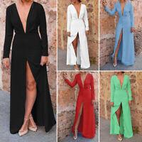 Womens Long Sleeve Sexy High Split Maxi Dress Loose Party Club Beach Long Dress