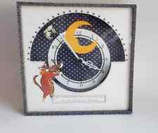 Vtg 80's Studio Craft Folk Art Mixed Media Hey Diddle Diddle Cat Moon Wall Clock