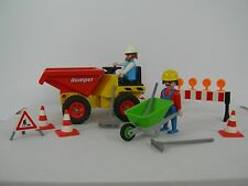 Vintage Playmobil Dumper Truck 3756 with Construction Workers and Accessories
