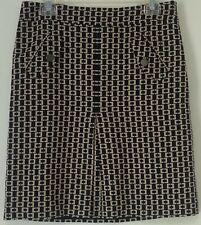 Ann Taylor LOFT Straight Geometric Skirt Blue-Multi Sz 6 Lining Pleats Pockets
