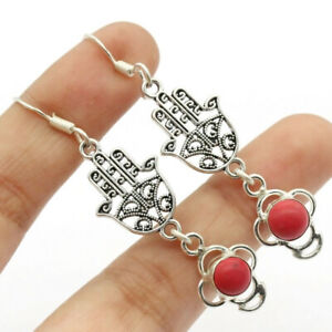 """Red Coral 925 Silver Plated Handmade Gemstone Earrings of 2.2"""" Ethnic Gift"""
