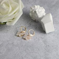 Fashion Womens 18k Gold Cute Butterfly Beige crystal Drop Earrings Jewelry Gifts