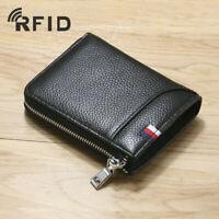 Men's Zipper Wallet 100% Genuine Leather Blocking RFID ID Card Holder Money Clip
