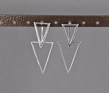 silver dangle ear jacket front back earrings triangle geometric double look stud