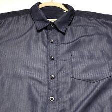 Milano Bay Men's Short Sleeve Button Up Shirt XL Blue Stripes Sheen Polyester