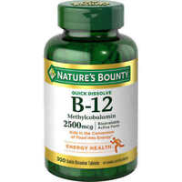 Nature's Bounty Sublingual Vitamin B-12 2500mcg 300 Tablets Cherry Flavor
