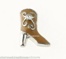 10pc Brown Cowboy Cowgirl Western Boots Shoe Floating Charm For Memory Lockets