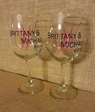 Customizable Personalized Custom Name Monogram Wine Glass Wedding Gift (1 glass)