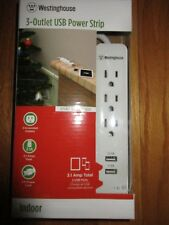 Westinghouse 3-Outlet USB Power Strip DR-1637 3.1 Amp Total 3 ft White