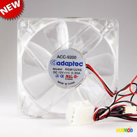 Clear 120mm PC Computer Case Cooling Fan 3/4-Pin Blue LED Light Adaptec ACC-9200