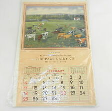 VINTAGE The Page Dairy CO. Green Medows Calendar Mansfield, Ohio Great Condition