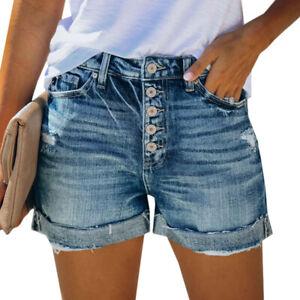 Damen Tasten Modisch Jeans Hosen Ripped Stretch Taschen Kurze Denim Shorts Hose