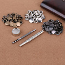 30 Poppers Snap Fastener Press Stud Kit 3 Fixing Tools Sewing Leather Craft 15mm