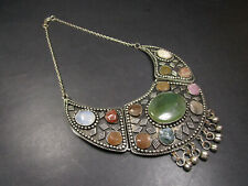 N38 Ethnic Banjara Silver tone River agate stones Boho Tribal Necklace Indian