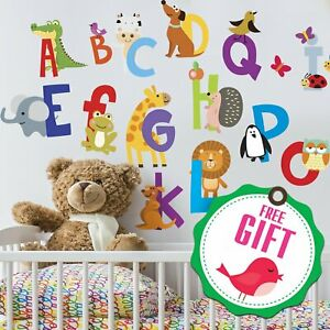 ABC Decals Animal Alphabet Wall Letters Stickers for Kids Bedroom Decor NEW