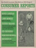 June 1966 Consumer Reports Magazine, Lawn Mowers , Station Wagons , Video Tape R