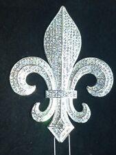 Large Rhinestone Silver Fleur De Lis Mardi Gras Saints Cake Topper Decoration