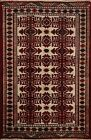 Excellent Vintage Bokhara Hand-knotted Area Rug Geometric Oriental 3'x4' Carpet